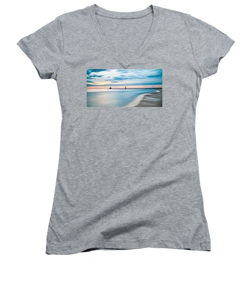 Grand Haven Pier - Smooth Waters Women's V-Neck T-Shirt (Junior Cut) by Larry Carr
