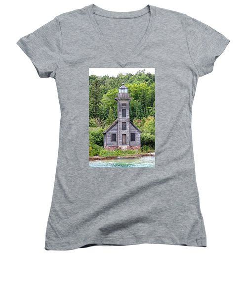 Women's V-Neck T-Shirt (Junior Cut) featuring the photograph Grand Island East Channel Lighthouse #6554 by Mark J Seefeldt