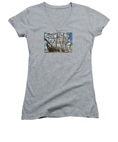 Women's V-Neck T-Shirt (Junior Cut) featuring the photograph Grand Old Sailing Ship by Roberta Byram