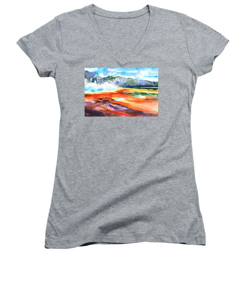 Grand Prismatic Hot Spring Women's V-Neck T-Shirt (Junior Cut) by Betty M M Wong