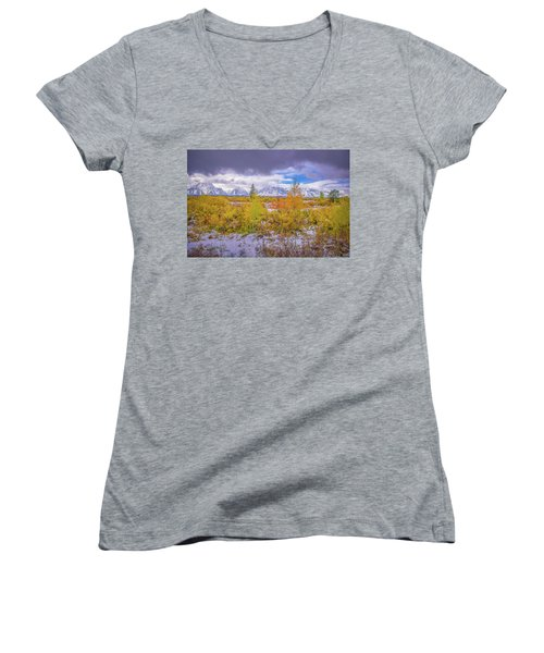 Grand Teton Fall Snowfall Women's V-Neck T-Shirt