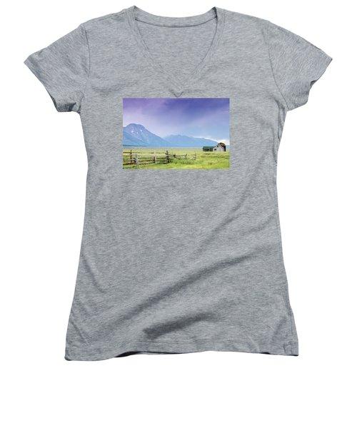 Grand Teton Homestead Women's V-Neck T-Shirt (Junior Cut) by Dawn Romine