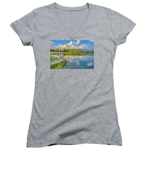 Grand Teton Riverside Morning Reflection Women's V-Neck