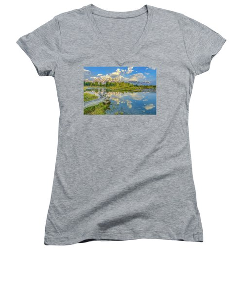 Grand Teton Riverside Morning Reflection Women's V-Neck T-Shirt