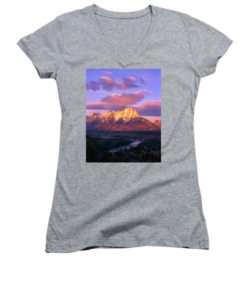 Grand Teton Sunrise Women's V-Neck