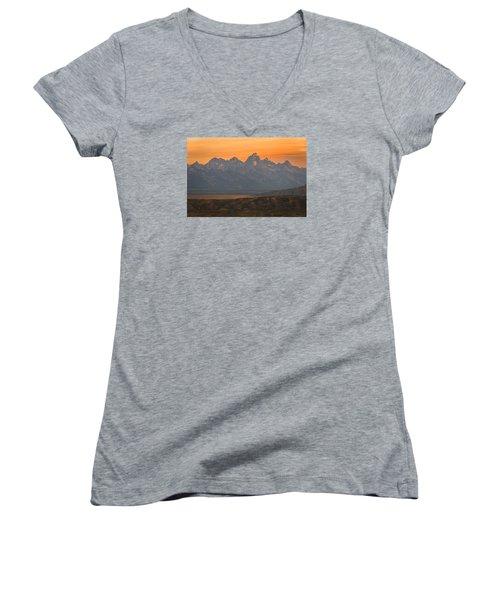Grand Teton Sunset Women's V-Neck T-Shirt