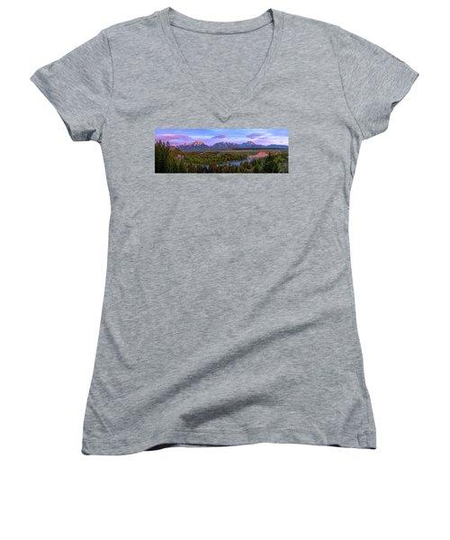 Grand Tetons Women's V-Neck T-Shirt (Junior Cut) by Chad Dutson