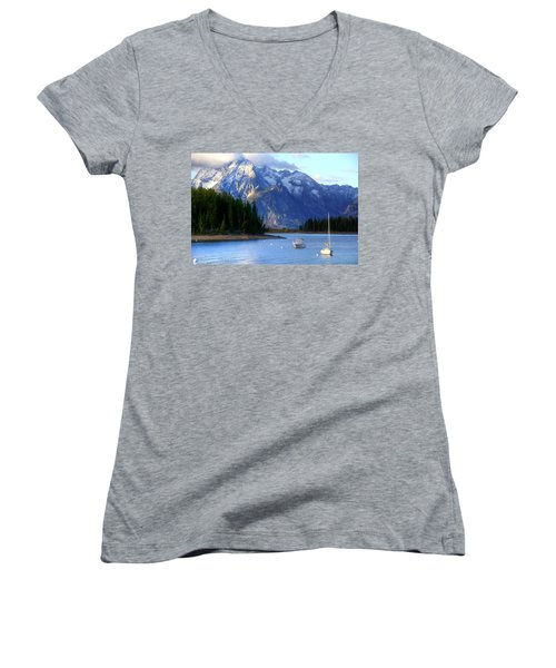Grand Tetons Women's V-Neck T-Shirt (Junior Cut) by Charlotte Schafer