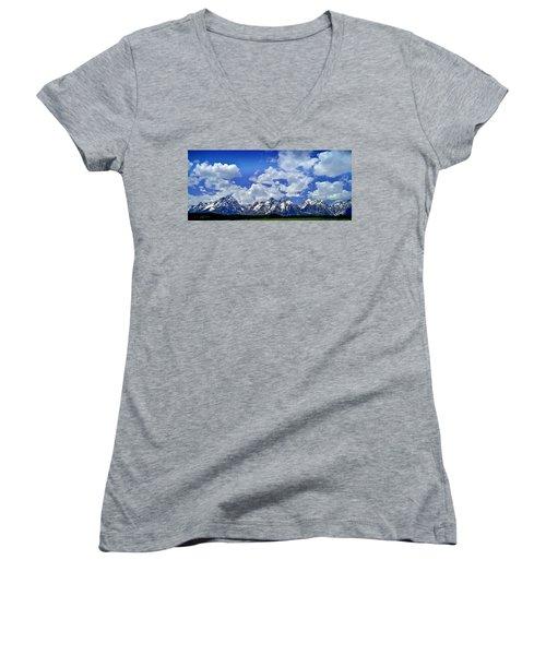 Grand Tetons Women's V-Neck T-Shirt (Junior Cut) by Ellen Heaverlo