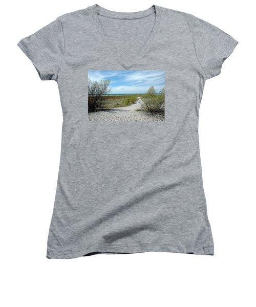 Women's V-Neck T-Shirt (Junior Cut) featuring the photograph Grand Traverse Bay Path by LeeAnn McLaneGoetz McLaneGoetzStudioLLCcom