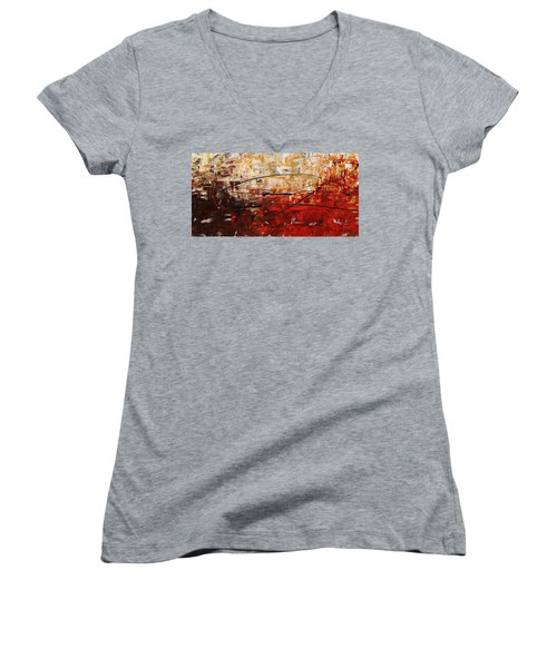 Women's V-Neck T-Shirt (Junior Cut) featuring the painting Grand Vision by Carmen Guedez