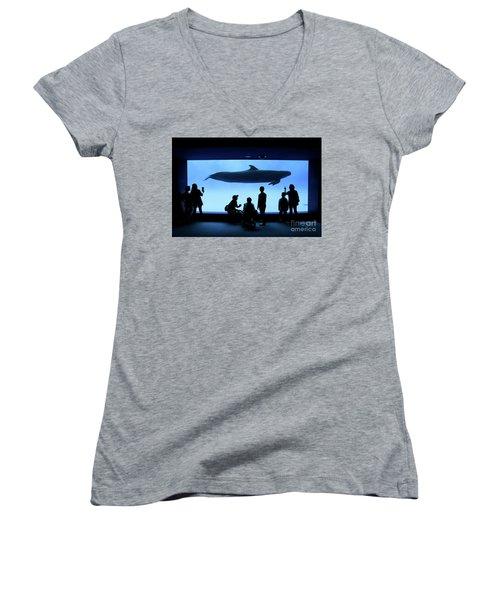 Women's V-Neck T-Shirt (Junior Cut) featuring the photograph Grand Whale by Tatsuya Atarashi