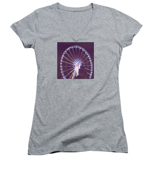 Grande Roue De Paris By Night Women's V-Neck T-Shirt (Junior Cut) by Aurella FollowMyFrench