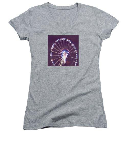 Grande Roue De Paris By Night Women's V-Neck T-Shirt (Junior Cut)