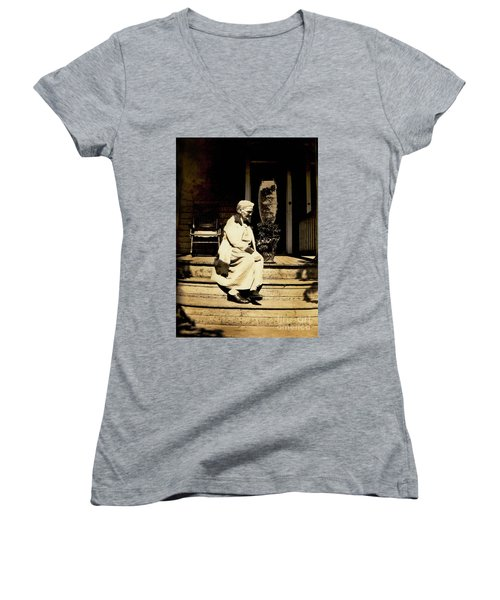 Women's V-Neck T-Shirt (Junior Cut) featuring the photograph Grandma Jennie by Paul W Faust - Impressions of Light