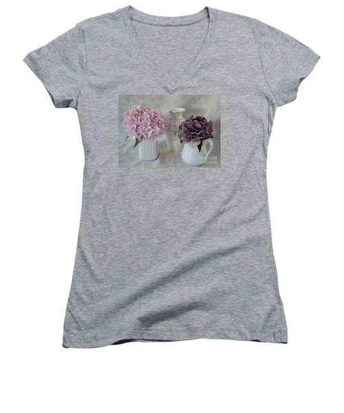 Women's V-Neck T-Shirt (Junior Cut) featuring the photograph Grandmother's Vanity Top by Sherry Hallemeier