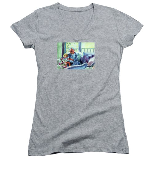Women's V-Neck T-Shirt (Junior Cut) featuring the painting Grandpa Reading by Kathy Braud