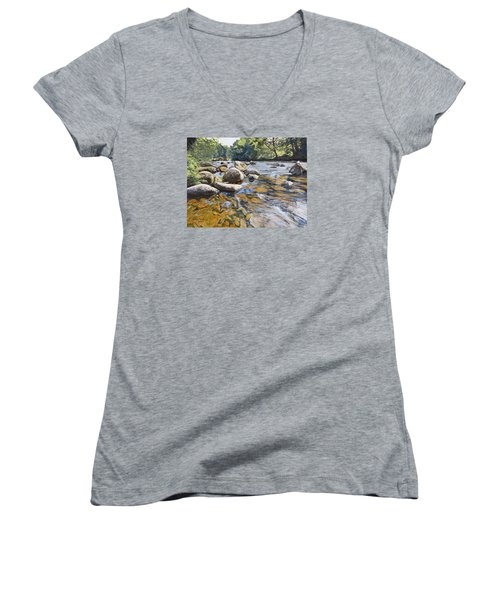 Granite Boulders East Okement River Women's V-Neck (Athletic Fit)