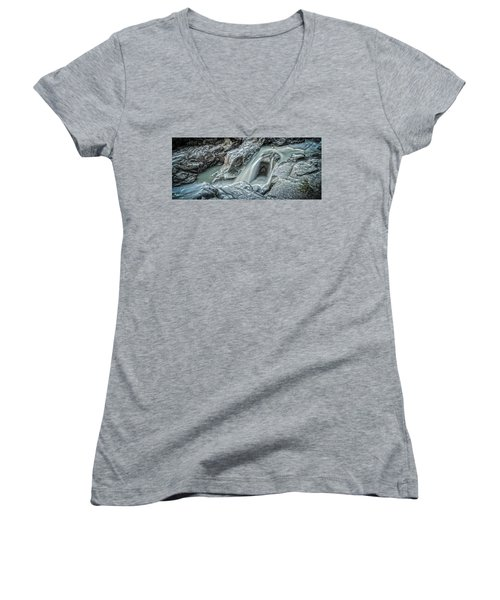 Granite Falls Blues Women's V-Neck T-Shirt (Junior Cut) by Tony Locke