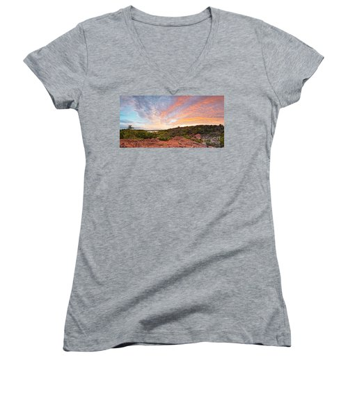Granite Hills Of Inks Lake State Park Against Fiery Sunset - Burnet County Texas Hill Country Women's V-Neck (Athletic Fit)