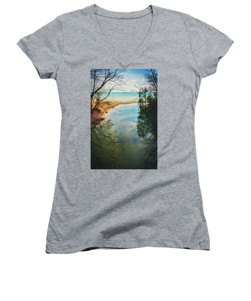Women's V-Neck T-Shirt (Junior Cut) featuring the photograph Grant Park - Lake Michigan Shoreline by Jennifer Rondinelli Reilly - Fine Art Photography