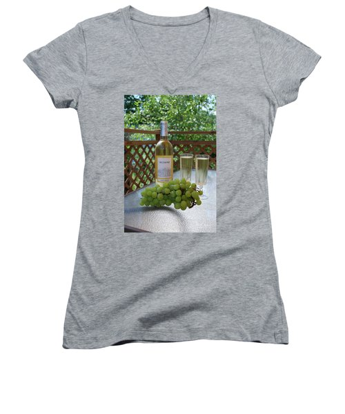 Grapes And Wine Women's V-Neck T-Shirt (Junior Cut) by Gordon Mooneyhan
