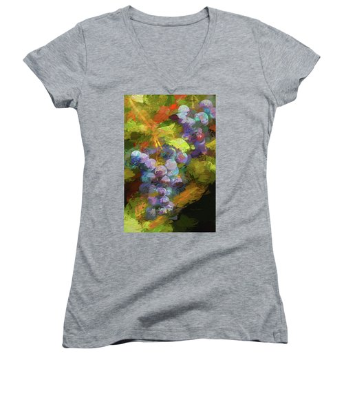 Grapes In Abstract Women's V-Neck T-Shirt (Junior Cut) by Penny Lisowski