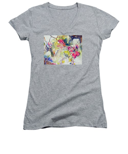 Women's V-Neck T-Shirt (Junior Cut) featuring the painting Grapes In Season by Mary Haley-Rocks