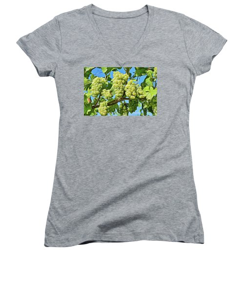 Women's V-Neck featuring the painting Grapes Not Wrath by Harry Warrick