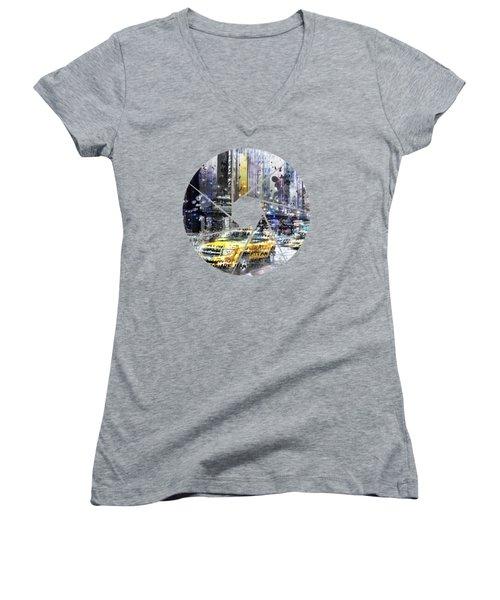 Graphic Art New York City Women's V-Neck T-Shirt (Junior Cut) by Melanie Viola