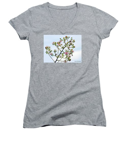 Grasping For The Hands Of Heaven Women's V-Neck T-Shirt (Junior Cut) by Steve Warnstaff