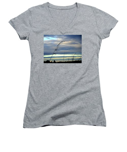 Grass Against Abstract Sky Women's V-Neck (Athletic Fit)