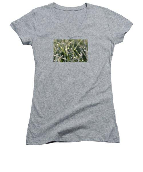 Grass Bokeh Women's V-Neck T-Shirt (Junior Cut) by Nikki McInnes