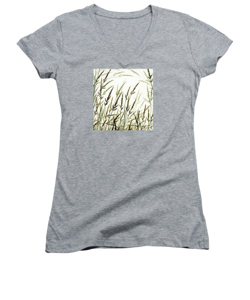 Women's V-Neck T-Shirt (Junior Cut) featuring the painting Grass Design by James Williamson