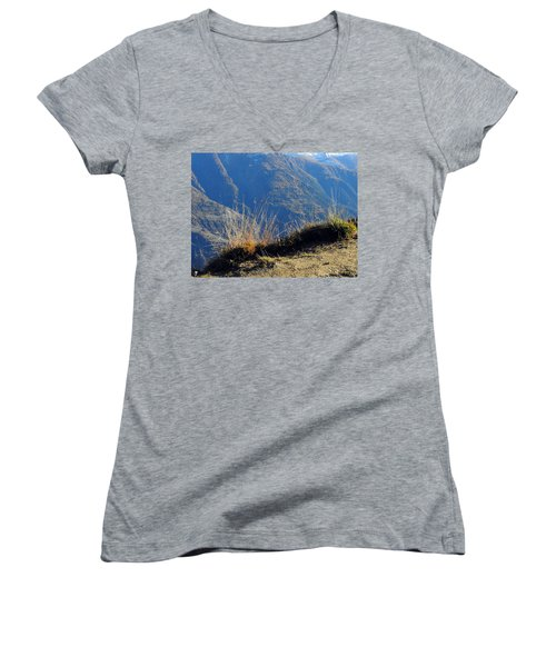 Grass In The Foreground, The Main Valley Of The Swiss Canton Of Valais In The Background Women's V-Neck T-Shirt (Junior Cut) by Ernst Dittmar