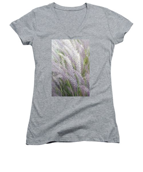 Women's V-Neck T-Shirt (Junior Cut) featuring the photograph Grass Is More - Nature In Purple And Green by Ben and Raisa Gertsberg