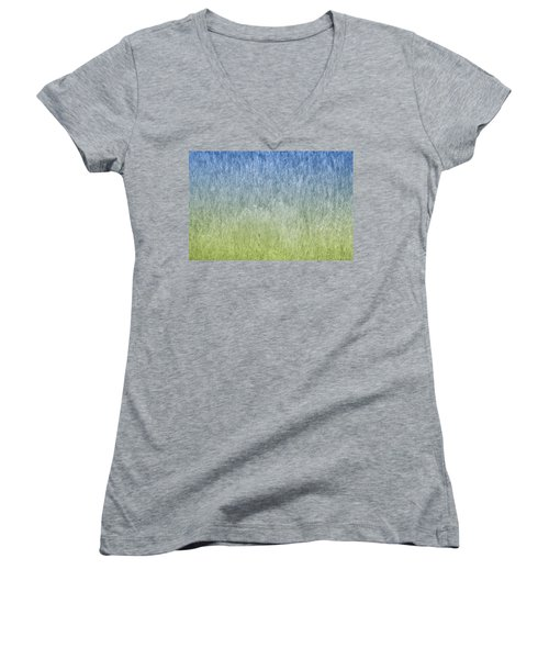 Grass On Blue And Green Women's V-Neck T-Shirt
