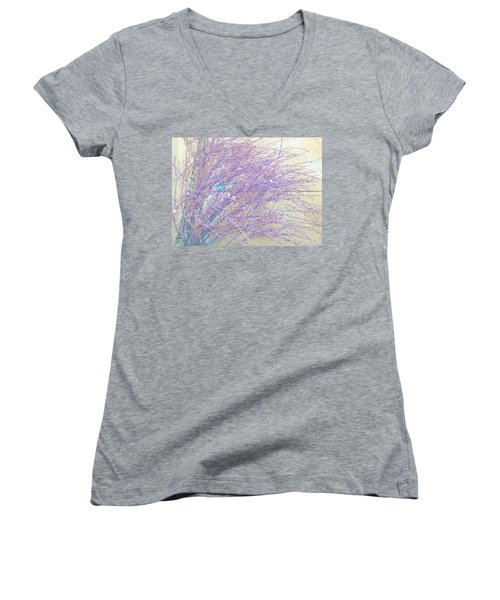 Women's V-Neck T-Shirt (Junior Cut) featuring the photograph Grasses Toward The Sun by Lenore Senior