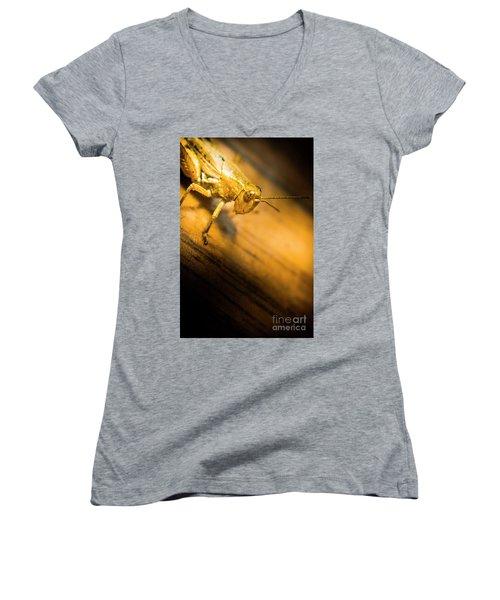 Grasshopper Under Shining Yellow Light Women's V-Neck (Athletic Fit)