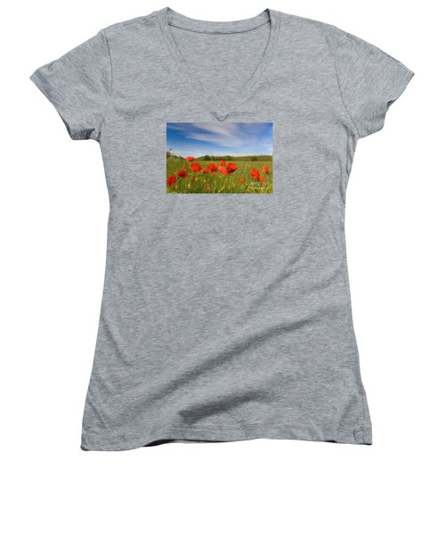 Women's V-Neck T-Shirt (Junior Cut) featuring the photograph Grassland And Red Poppy Flowers by Jean Bernard Roussilhe