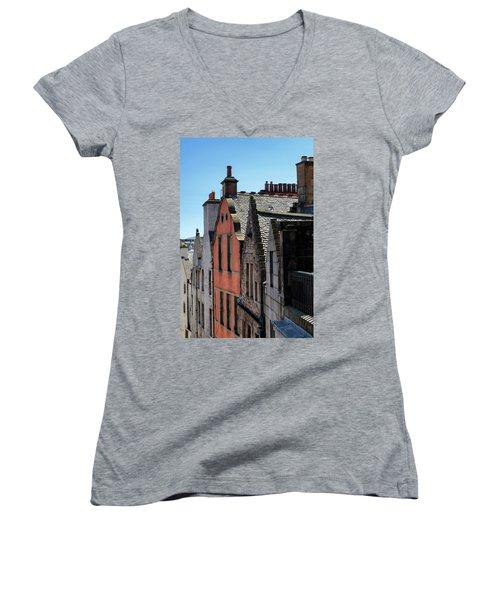 Women's V-Neck T-Shirt featuring the photograph Grassmarket In Edinburgh, Scotland by Jeremy Lavender Photography