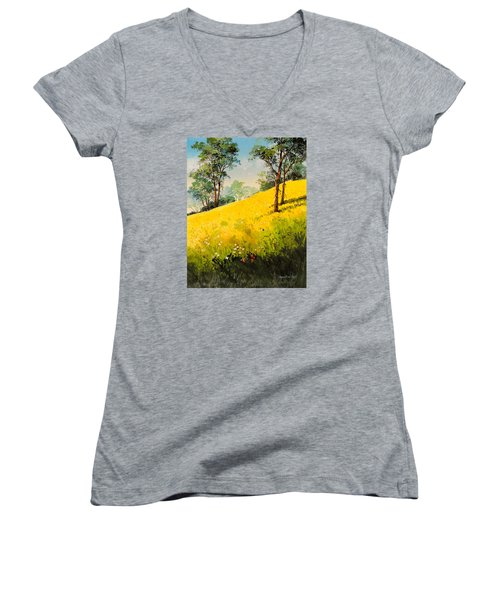 Grassy Hillside II Women's V-Neck (Athletic Fit)
