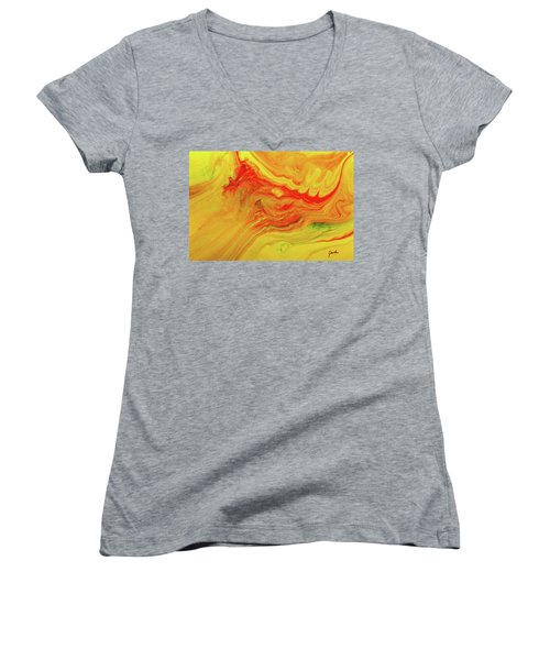 Gratitude - Red And Yellow Colorful Abstract Art Painting Women's V-Neck