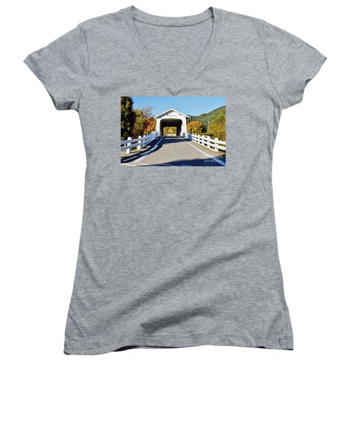 Grave Creek Covered Bridge 1 Women's V-Neck T-Shirt (Junior Cut) by Ansel Price