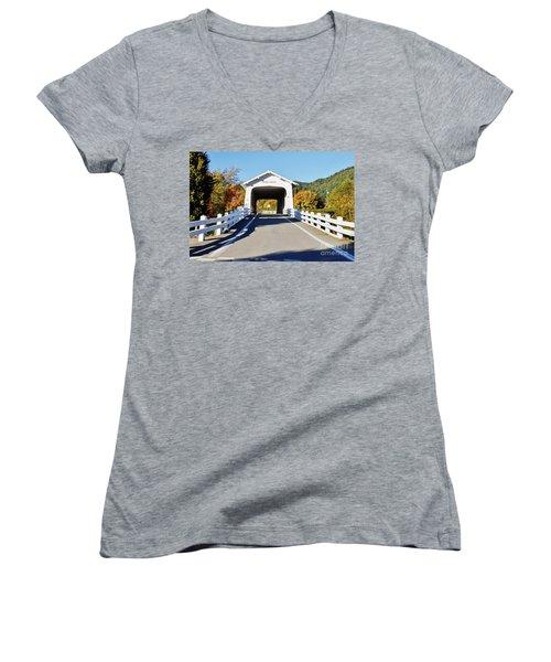 Grave Creek Covered Bridge 1 Women's V-Neck T-Shirt