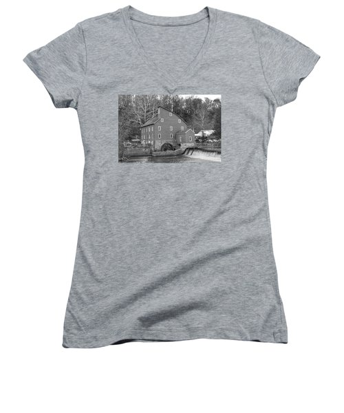 Gray Autumn At The Old Mill In Clinton Women's V-Neck