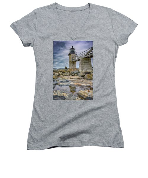 Women's V-Neck T-Shirt (Junior Cut) featuring the photograph Gray Day At Marshall Point by Rick Berk