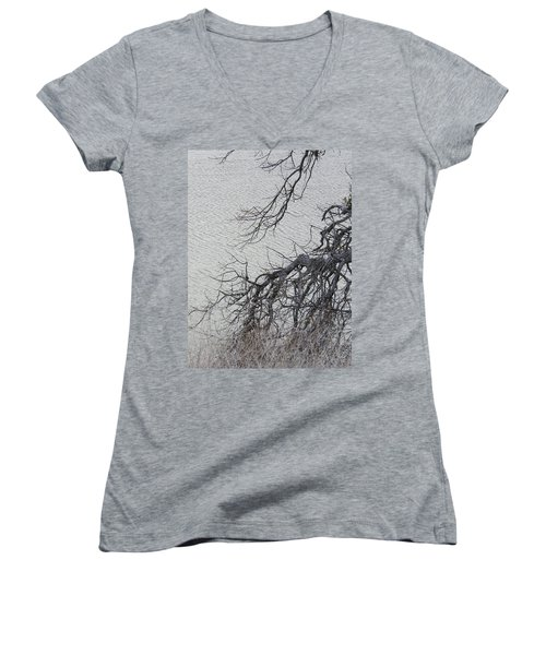 Gray Day At The Lake - Bare Branches Women's V-Neck T-Shirt (Junior Cut) by Brooks Garten Hauschild