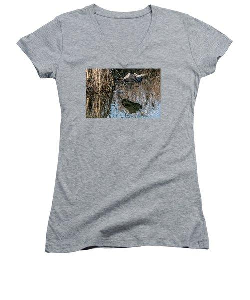 Gray Heron Flew Up Women's V-Neck