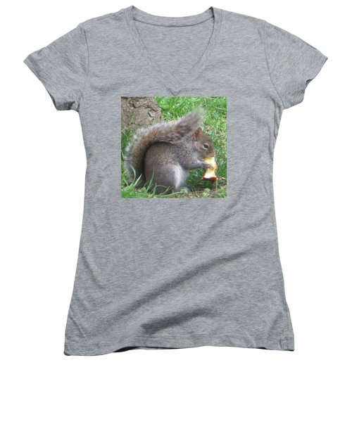 Gray Squirrel With An Apple Core Women's V-Neck